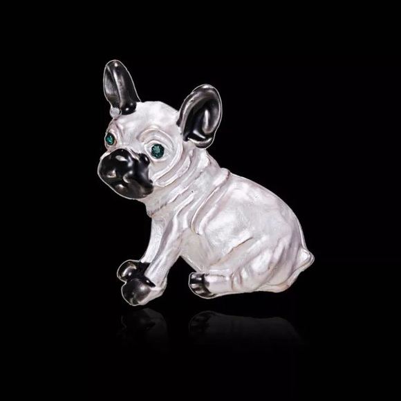 Guilia's Jewelers Jewelry - GOLD PLATED PUG W/SWAROVSKI CRYSTAL EYES BROOCH